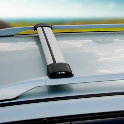 Багажник Ficopro (серебристый) на рейлинги для Volkswagen Cross Polo 2006-2009